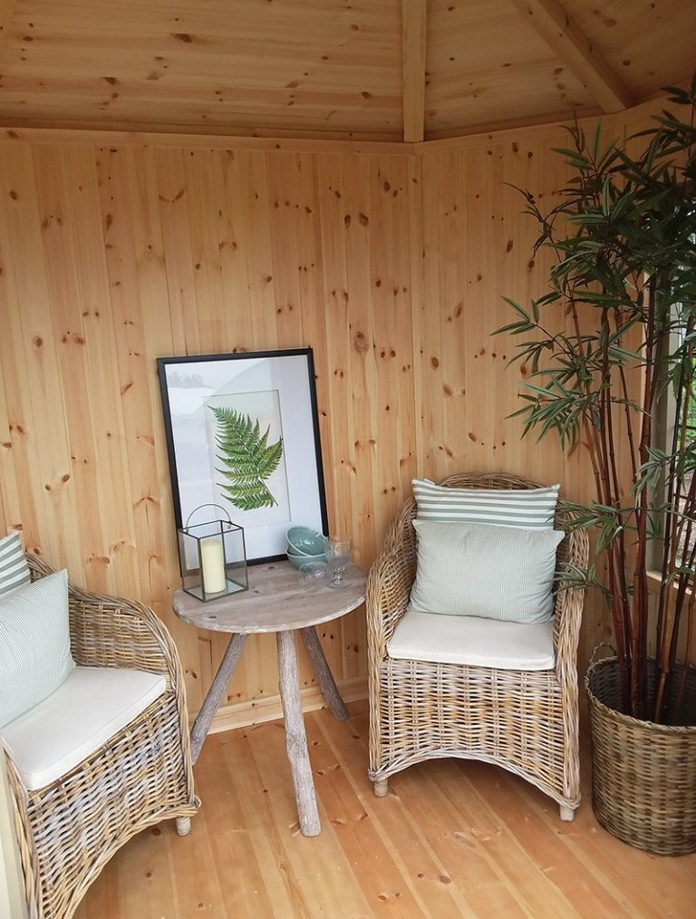 Inside the 1.8 x 2.5m Furnished Wiveton Summerhouse at Brighton
