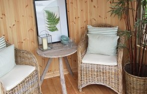 Inside the 1.8 x 2.5m Furnished Wiveton Summerhouse at Brighton lined with natural matchboard