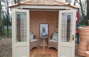 1.8 x 2.5m Furnished Wiveton Summerhouse at Brighton painted in Taupe