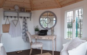 Inside the 3.6 x 3.6m Dressed Wiveton Summerhouse at Brighton painted in Cream from our exterior paint system
