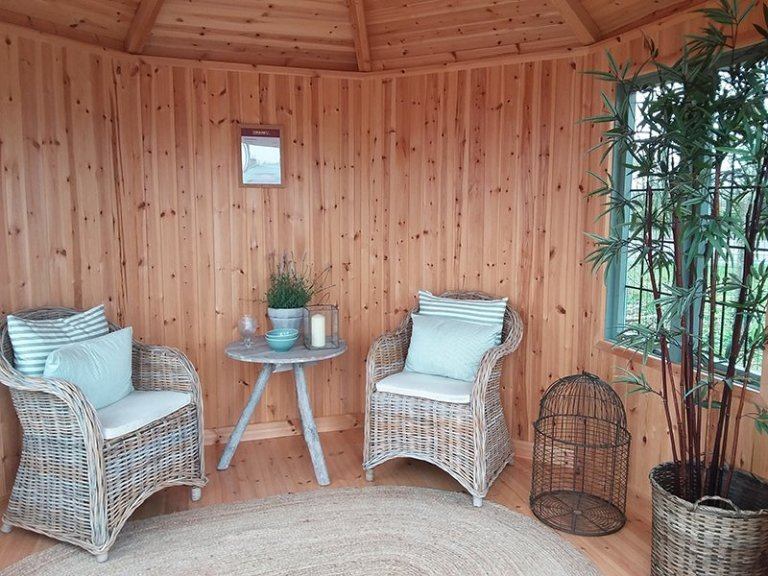 Inside the 3.0 x 3.0m Wiveton Summerhouse at Brighton painted in Sage
