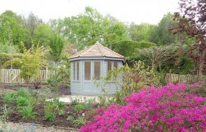 3.0 x 3.0m Wiveton Summerhouse with Leaded Windows painted in Farrow & Ball Pigeon