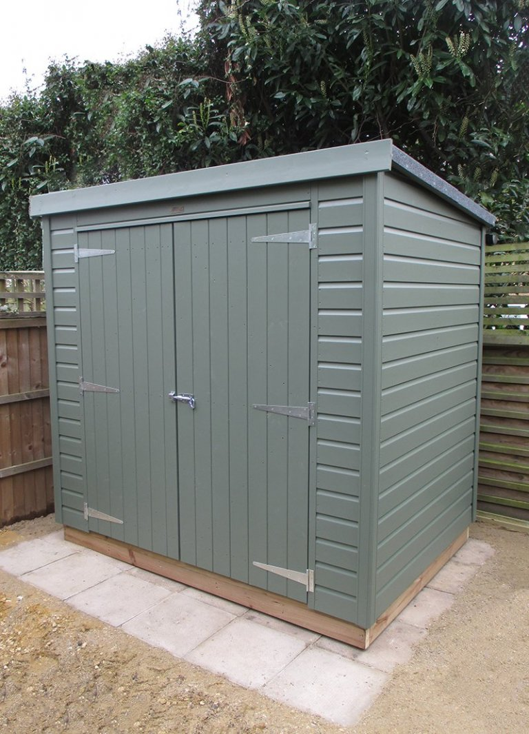1.5 x 2.1m Pent Roof Classic Shed painted in Moss