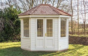 Classic Summerhouse painted in Classic Cotton with Leaded windows