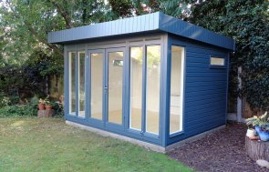 3.0 x 3.6m Salthouse Studio in Exterior Slate Paint with fanlight windows in the side walls