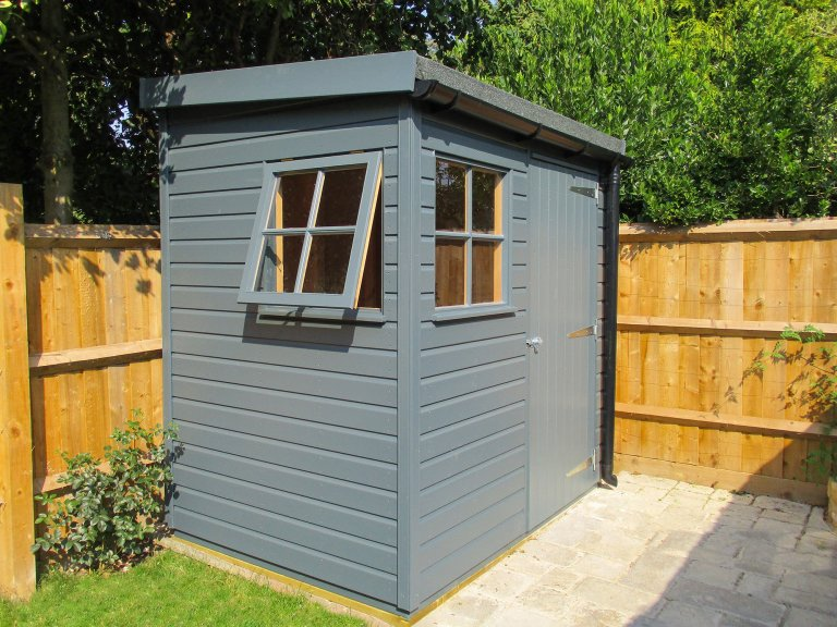 1.5 x 2.1m Pent Superior Shed painted in Slate