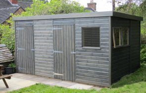 2.4 x 4.2m Pent Roof Superior Shed with a Partition painted in Sikkens Grey