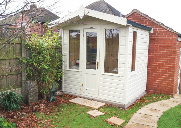 2.1 x 1.8m Blakeny Summerhouse craftroom painted in Sandstone