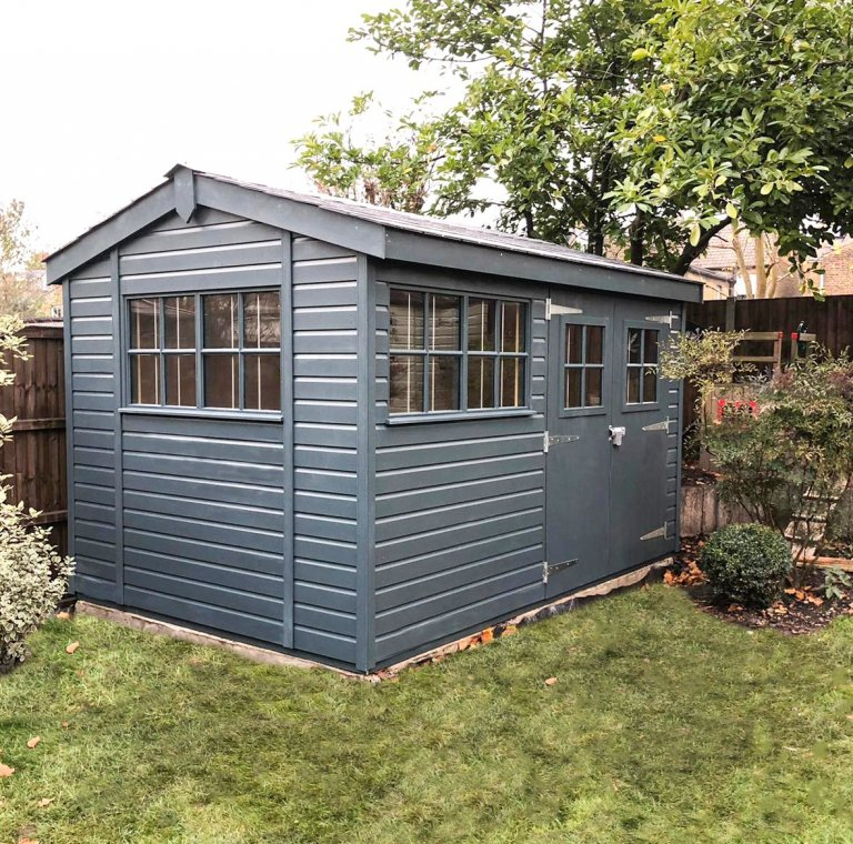 2.4 x 3.6m Superior Shed painted in Exterior Slate with Georgian windows