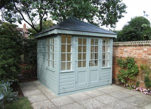 2.4 x 2.4m Cley Summerhouse in Exterior Sage