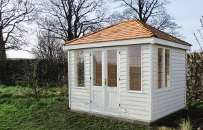 2.4 x 3.0m Cley Summerhouse in weatherboard cladding and painted in Exterior Cream