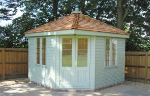 3.0 x 3.0m Weybourne Summerhouse painted in Exterior Sage paint