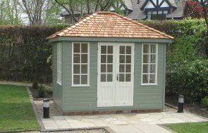 2.4 x 3.0m Cley Summerhouse painted in Exterior Lizard & Ivory