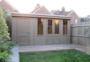 Holkham Summerhouse with Storage Partition and painted in Exterior Ash