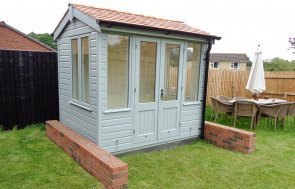1.8 x 2.4m Holkham with Cedar Shingle Roofing Tiles and painted in Exterior Sage