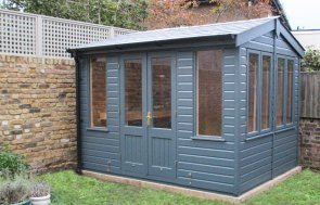2.4 x 3.0m Holkham Summerhouse painted in Exterior Slate