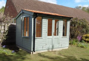 2.4 x 3.0m Holkham with Leaded windows and painted in Exterior Sage