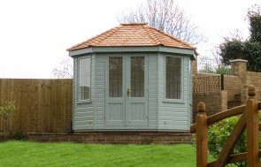 2.4 x 3.0m Wiveton Summerhouse with Leaded Windows and Cedar Shingle Tiles painted in Exterior Sage