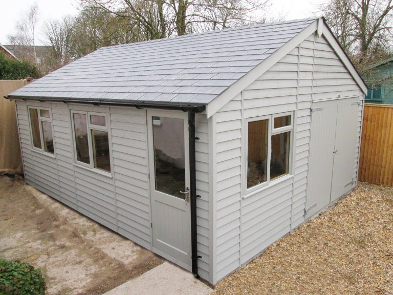 4.8 x 6.0m Timber Garage with Steep Pitch Roof in Exterior Pebble