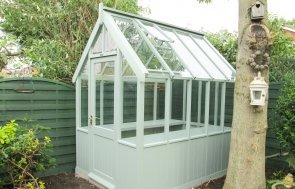 1.8 x 2.4m Timber Greenhouse painted in Exterior Sage