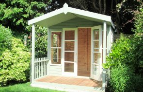 2.4 x 3.0m Morston Summerhouse  Painted in Lizard & Sandstone