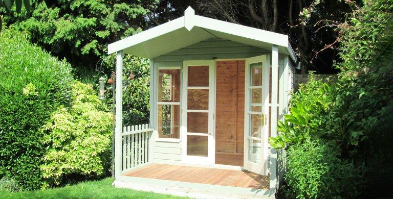 2.4 x 3.0m Morston Summerhouse  Painted in Lizard & Sandstone