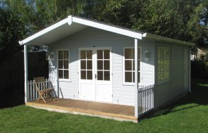 4.2 x 6.0m Morston Summerhouse painted in Saltwater and Ivory with Georgian windows