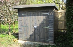 1.8 x 2.4m Pent Roof Superior Shed in Sikkens Grey Stain