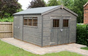 3.0 x 4.2m Superior Shed with a partition and painted in Sikkens Grey