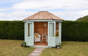 2.4 x 3.0m Classic Seagrass painted dress summerhouse
