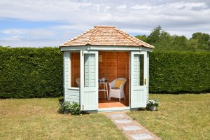 2.4 x 3.0m Classic Summerhouse painted in Classic Seagrass