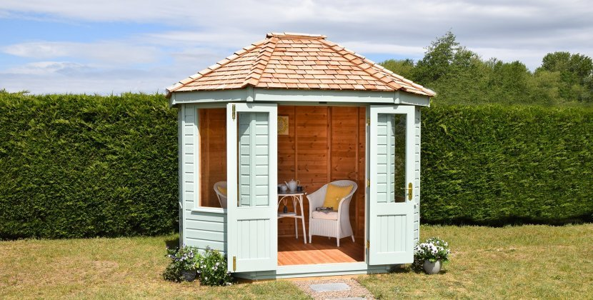 Octagonal Summerhouse painted in Classic Seagrass