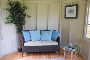 2.4 x 3.0m Classic Summerhouse Interior painted in Classic Cotton