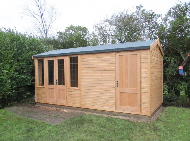2.4 x 4.8m Light Oak Holkham Summerhouse with Storage Partition