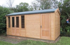 2.4 x 4.8m Light Oak Holkham Summerhouse with Storage Partition