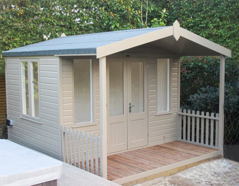 3.0 x 3.6m Morston Summerhouse in Farrow & Ball Mouse's Back