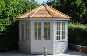3.0 x 3.0m Wiveton Summerhouse Painted in Farrow & Ball Manor House Gray