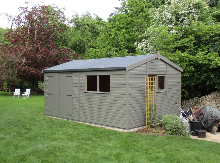 3.6 x 4.8m Superior Shed painted in Exterior Ash