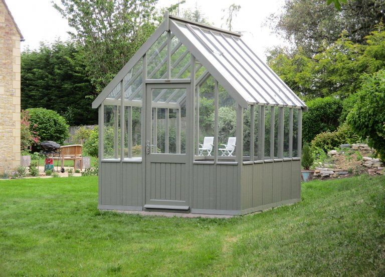 2.4 x 3.0m Timber Greenhouse Painted in Exterior Ash