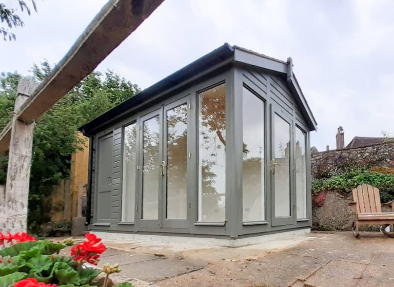 2.4 x 4.2m Burnham Studio with Storage Partition in Exterior Ash