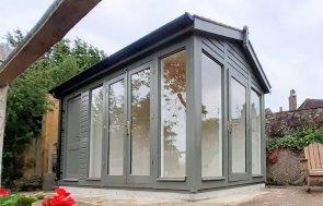 2.4 x 4.2m Burnham Studio with Storage Partition in Exterior Ash