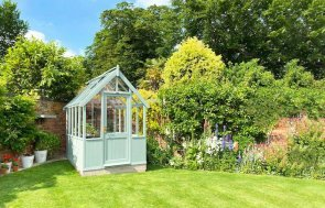 1.8 x 2.4m Exterior Sage Painted Greenhouse