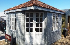 3.0 x 3.0m Weybourne Summerhouse at Brighton painted in two-tone exterior Pebble & Ivory