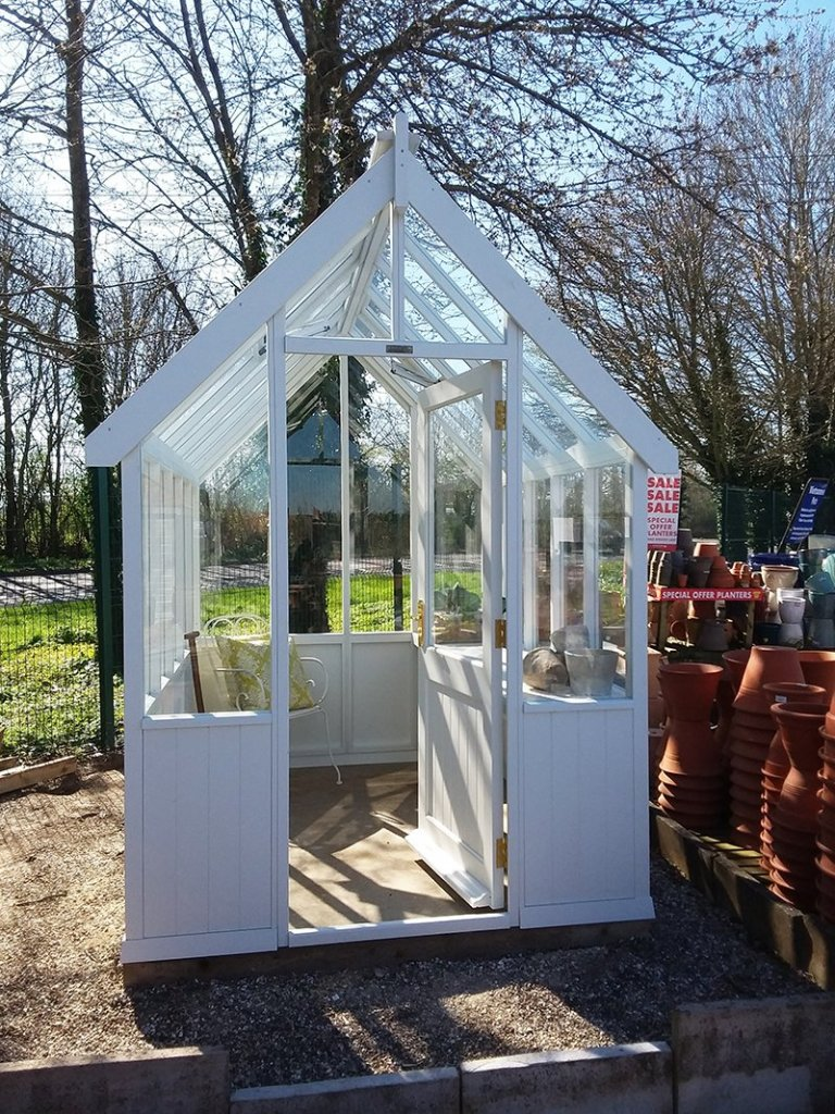 1.8 x 2.4m Greenhouse at Brighton with open door