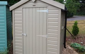 1.5 x 2.1m Classic Shed at Newbury painted in Stone from our Classic Paint System