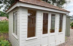 2.4 x 3.0m Cley Summerhouse at Trentham painted in Exterior Twine