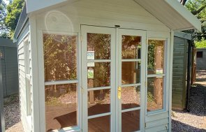 2.4 x 2.4m Blakeney Summerhouse at Trentham painted in Verdigris from our Exterior Paint System