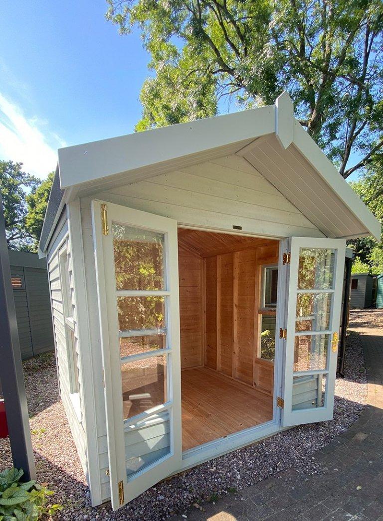 2.4 x 2.4m Blakeney Summerhouse at Trentham with open double doors