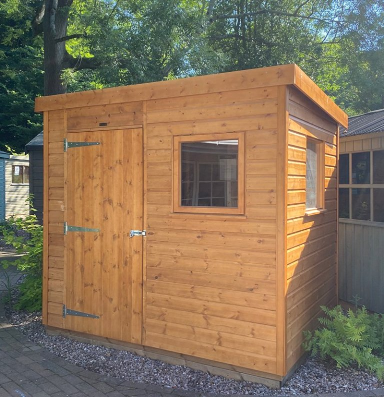 1.8 x 2.4m Superior Shed at Trentham treated with a Sikkens Wood Stain in the shade Teak