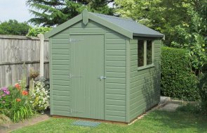 1.8 x 2.4m Classic Shed in Moss Paint with an apex roof